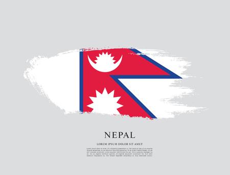 nationalism: Flag of Nepal, brush stroke background