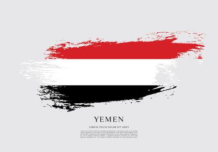 yemen: Flag of Yemen, brush stroke background