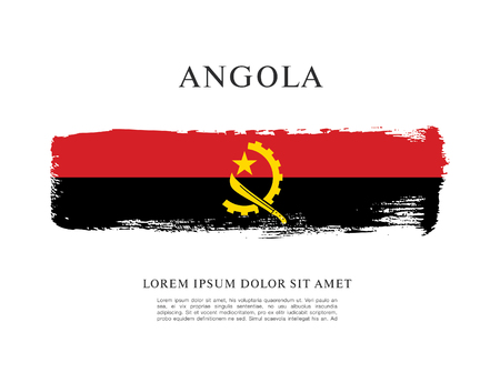 Flag of Angola brush stroke background