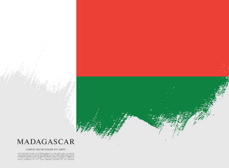 Flag of Madagascar brush stroke background Ilustração