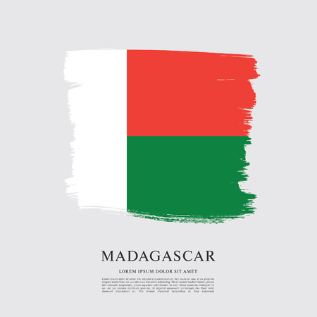 Flag of Madagascar brush stroke background
