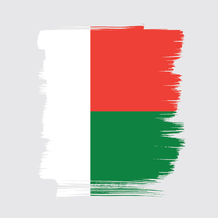 Flag of Madagascar brush stroke background Illustration