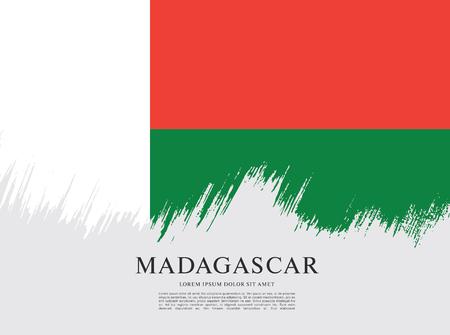 Flag of Madagascar brush stroke background Ilustração Vetorial