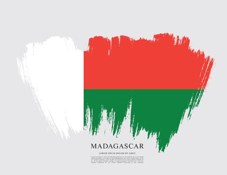Flag of Madagascar brush stroke background
