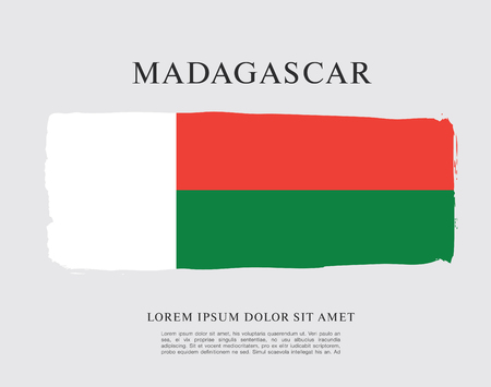 Flag of Madagascar brush stroke background Vecteurs