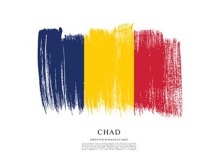 Flag of Chad brush stroke background Vetores
