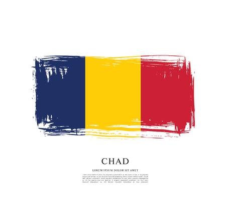 Flag of Chad brush stroke background