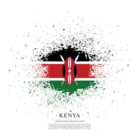 Flag of Kenya brush stroke background Векторная Иллюстрация