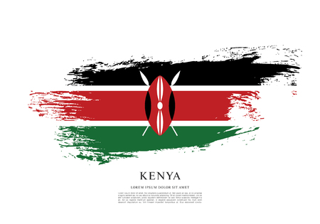 Flag of Kenya, brush stroke background Illusztráció