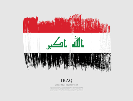 Flag of Iraq brush stroke background Vektorové ilustrace
