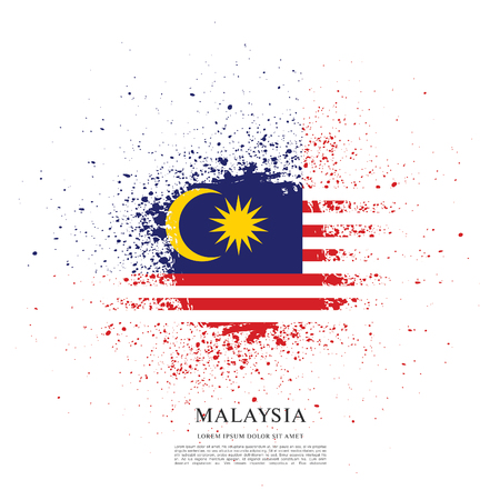 Flag of Malaysia, brush stroke background Illusztráció