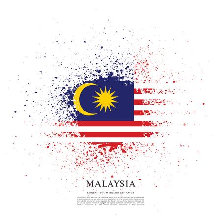 Flag of Malaysia, brush stroke background Illustration