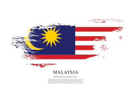 Flag of Malaysia, brush stroke background Ilustração