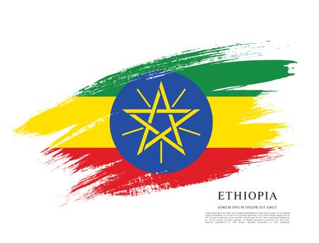 Flag of Ethiopia, brush stroke background