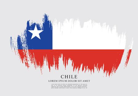 bandera chilena: Bandera de Chile, fondo de pincel Vectores
