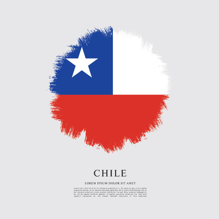 chilean: Flag of Chile, brush stroke background Illustration