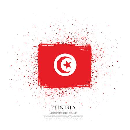 Drapeau de la Tunisie, fond de pinceau Banque d'images - 80320525