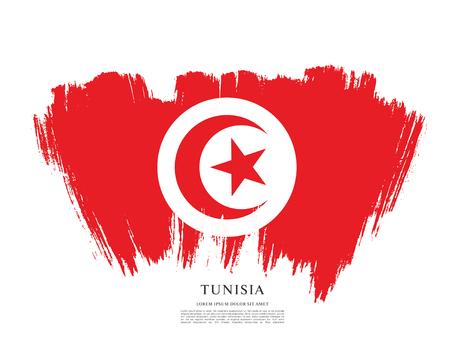 チュニジア、ブラシ ストロークの背景の国旗