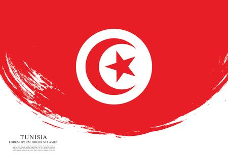 Flag of Tunisia, brush stroke background