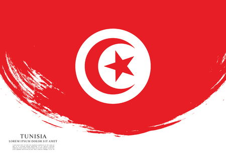 Flag of Tunisia, brush stroke background