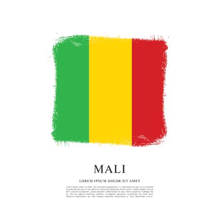 mali: Flag of Mali, brush stroke background Illustration