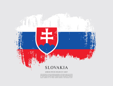 slovakia: Flag of Slovakia, brush stroke background