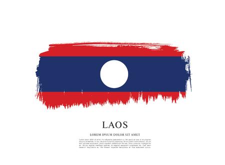 laotian: Flag of Laos, brush stroke background