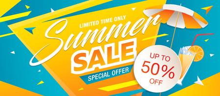 Banner de plantilla de venta de verano, ilustración vectorial