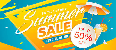 Summer sale template banner, vector illustration 免版税图像 - 80114981