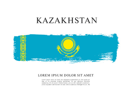 A Vector illustration design of Kazakhstan flag layout. Ilustrace