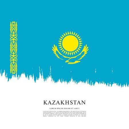 Vector illustration design of Kazakhstan flag layout Çizim