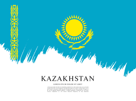 カザフスタンの旗レイアウトのベクトル イラスト デザイン