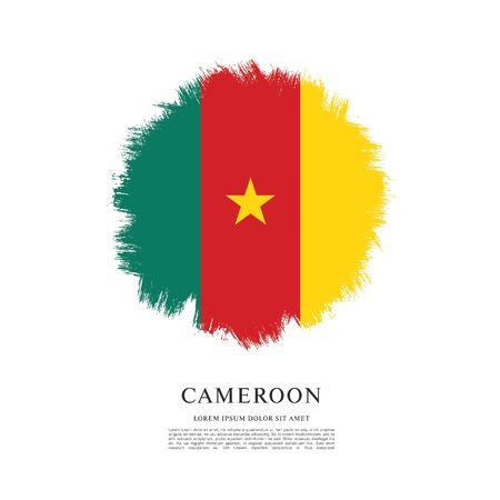 Flag of Cameroon, brush stroke background Ilustracja
