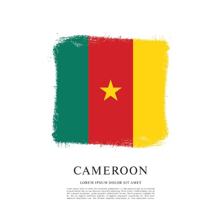 Flag of Cameroon, brush stroke background Ilustração
