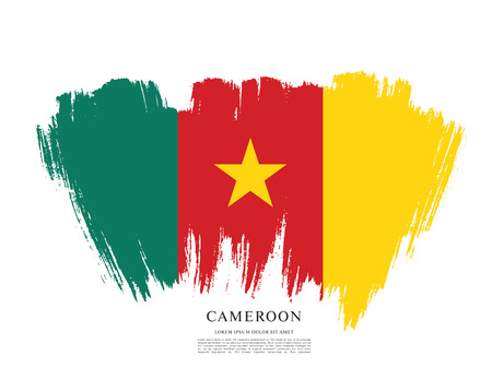 cameroon: Flag of Cameroon, brush stroke background Illustration