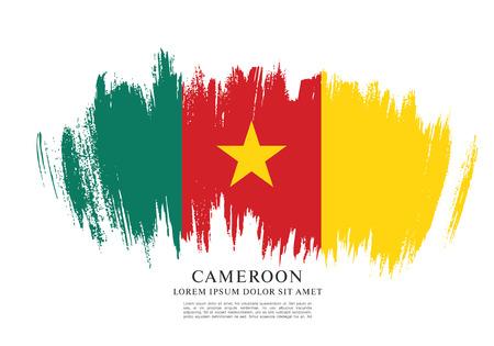 Flag of Cameroon, brush stroke background Illustration