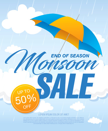 Monsoon sale banner template design Illustration