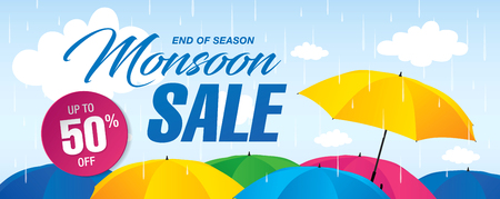Monsoon sale banner template design Banco de Imagens - 80562544