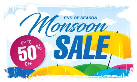 Monsoon sale banner template design Illustration