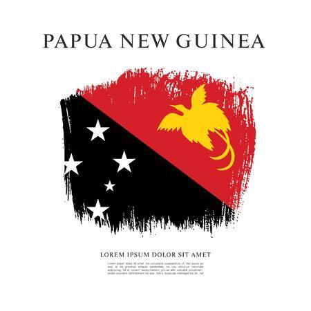 Flag of Papua New Guinea, brush stroke background Ilustracja