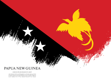 Flag of Papua New Guinea, brush stroke background Illustration