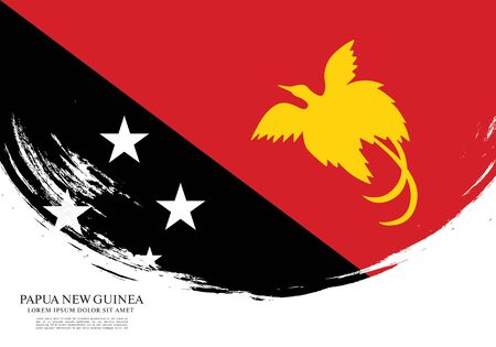 Flag of Papua New Guinea, brush stroke background Banque d'images - 140204025
