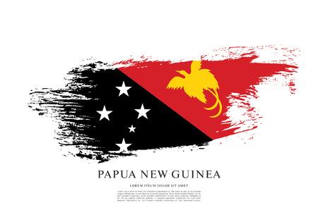 nationalism: Flag of Papua New Guinea, brush stroke background Illustration