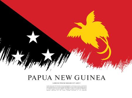 Nuova Guinea: Flag of Papua New Guinea, brush stroke background Vettoriali