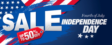 nationalism: Fourth of July. Independence day sale banner template design Illustration