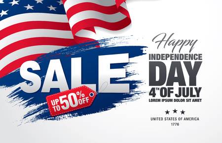 discount banner: Fourth of July. Independence day sale banner template design Illustration