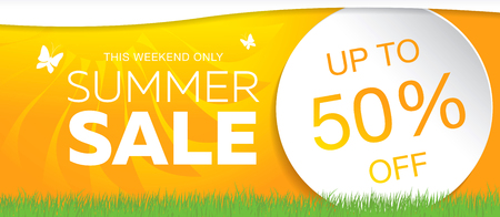 Summer sale template banner, vector illustration Vector Illustration