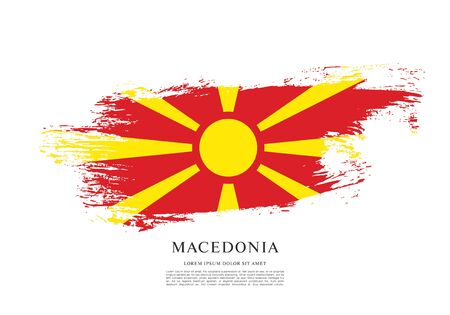 Flag of Macedonia, brush stroke background Векторная Иллюстрация