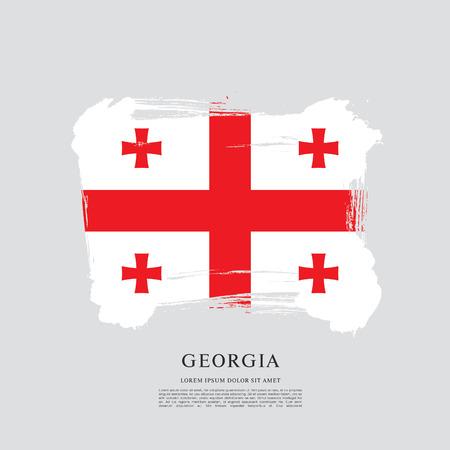 georgian: Flag of Georgia, brush stroke background Illustration