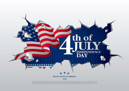 Fourth of July Independence Day; Vector illustration Иллюстрация